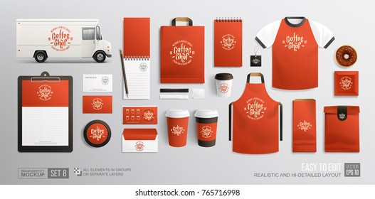Red corporate Brand identity Mockup set of Coffee, Food truck restaurant elements. Realistic MockUp set of food truck, fast food package, uniform, cup, paper pack and stationary Cofee Shop items