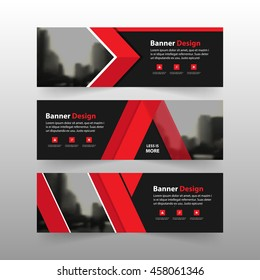 Red corporate business banner template, horizontal advertising business banner layout template flat design set