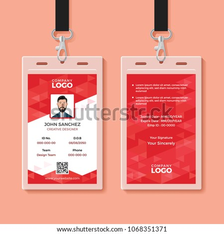 red corporate id card design template stock vector royalty free