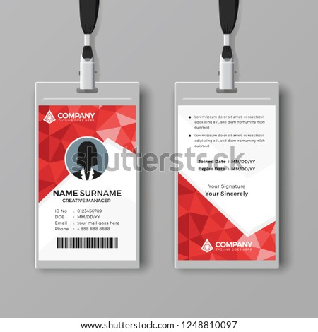 Red Corporate Id Card Template Abstract Stock Vector Royalty Free