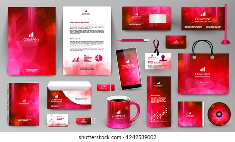 Red corporate identity promotional set. Professional branding design template.  Business stationery mock-up. Folder, letter, cover, broshure, letterhead, coffee cup, business card, bag, badge