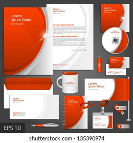 Red corporate identity template with gray elements. Vector company style for brandbook and guideline. EPS 10