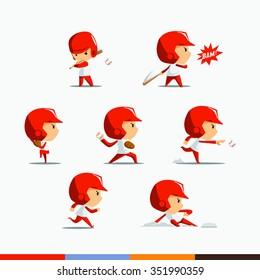 Red Costume Baseball player set