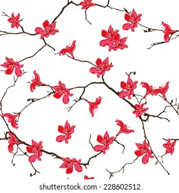 Red cotton tree chinese seamless vector background