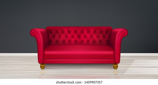 Red couch, sofa on black wall and light wood floor background. Classic design furniture of leather, fabric buttoned quilted upholstery, modern dwelling interior design Realistic 3d vector illustration