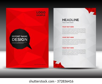 Red cover design Annual report template, brochure flyer, polygon background, portfolio, Leaflet, presentation, book, booklet, catalog, magazine ads, newsletter, poster