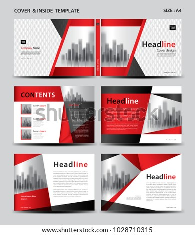 red cover design inside template magazine stock vector royalty free