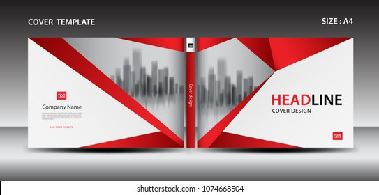 Red Cover design template for magazine, ads, presentation, annual report, book, leaflet, poster, catalog, printing media, newsletter, business brochure flyer, Horizontal layout vector. A4