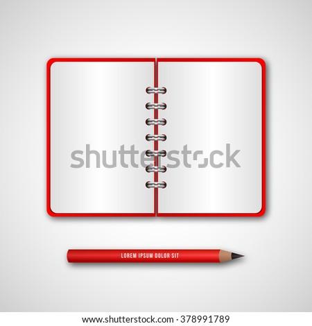 Red cover diary pencil business binder stock vector royalty free red cover diary with pencil business binder opened spiral notebook with blank pages accmission Images