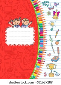 Red cover school notebook in stripes.