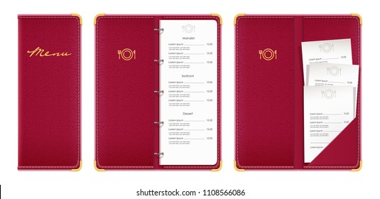 Red covered menu book with check. Concept design for restaurant equipment. Isolated white background. EPS10 vector illustration.