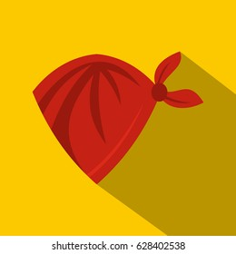 Red cowboy neckerchief icon. Flat illustration of red cowboy neckerchief vector icon for web on yellow background