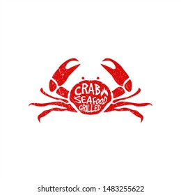 Red Crab Grilled Logo for Seafood Restaurant with grunge texture