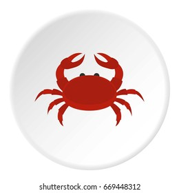 Red crab icon in flat circle isolated on white background vector illustration for web