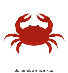 Red crab icon flat isolated on white background vector illustration