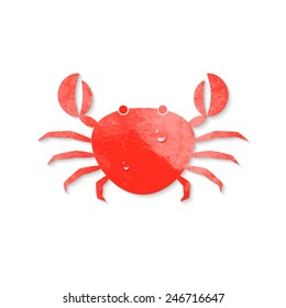 Red crab icon in watercolor style with drops