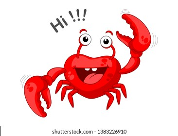 Red crab saying hello, funny crab . Vector illustration - crab on white background