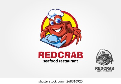 Red Crab Seafood Restaurant Vector Logo Illustration. Cartoon character red crab chef.