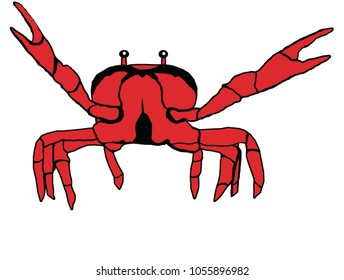 Red crab waving claws vector