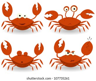 Red Crabs Characters/ Illustration of a set of cartoon red crab characters with various expressions and emotions