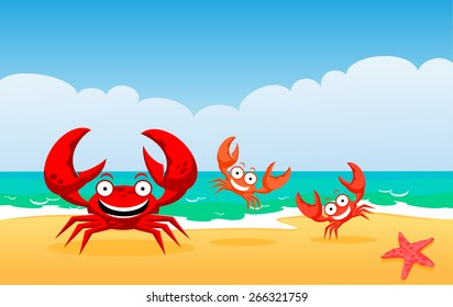 Red crabs. Crabs on a beach, vector illustration. Family of crabs.
