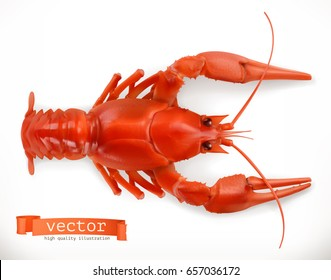 Red crayfish. 3d vector icon. Seafood, realism style.