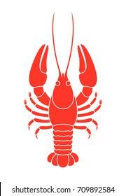 Red crayfish. Isolated crayfish on white background. EPS 10. Vector illustration