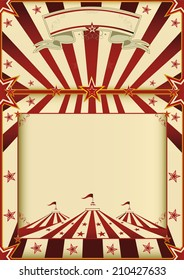 Red and cream circus poster.. A grunge vintage poster with a circus tent and a large copy space for your advertising.