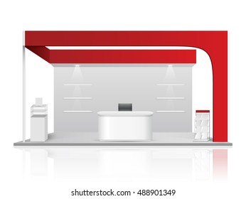 Red creative exhibition stand design. Booth template. Corporate identity vector.