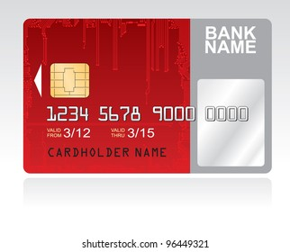 Red credit card circuit board