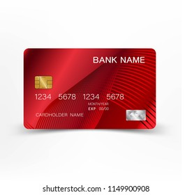 Red credit card design. On white background vector EPS10