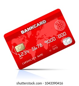 Red credit card - stock vector