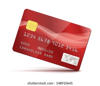 Red Credit Card Vector Illustration isolated on white