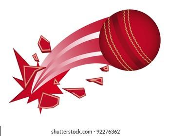 red cricket ball broken isolated vector illustration
