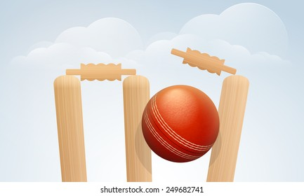Red Cricket ball hitting the wicket stumps on cloudy background for sports concept.