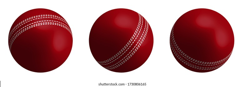 red cricket ball in realistic style on a white background. Summer team sports. 3d vector