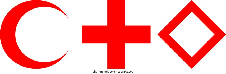 Red Cross Crescent Crystal Symbols, Red Cross Crescent Crystal Symbols on Isolated White Background
