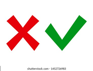 Red cross and green check mark isolated on white background. Right and wrong. Vector illustration