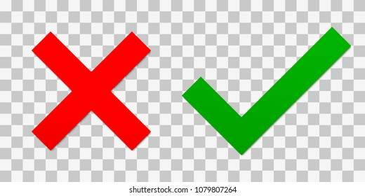 Red cross and a green tick. Vector illustration with realistic shadow on a transparent background. Symbol of choosing or voting. Right or wrong answer concept. Checkbox marks.