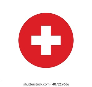 Red cross icon. Swiss flag vector icon