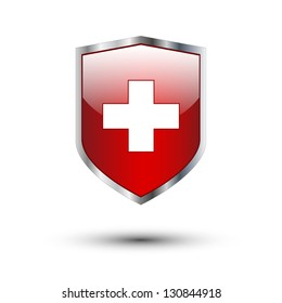 Red cross on protective shield