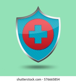 Red Cross Shield Symbol Icon Vector