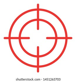Red Crosshair Icon / Black and White, Vector, Isolated