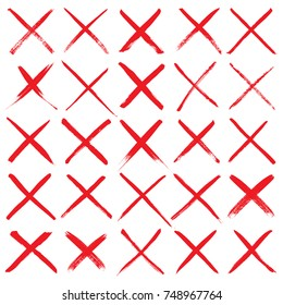 Red crossing lines. Collection of 16 hand painted X marks (line through, reject signs, etc.)  isolated on a white background. Vector illustration