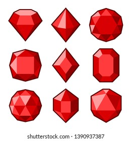 Red Crystals and Gemstones Icons Set on White Background. Vector