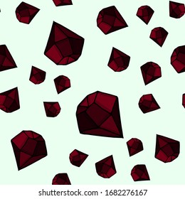 Red crystals and rubies on a light background. Seamless vector patterns. For fabric, textile, design, cover, banner.
