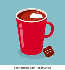 Red cup of black tea with tea bag. Vector illustration.