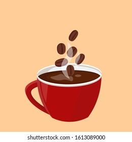 Red cup of coffee with coffee beans. Coffee cup card design