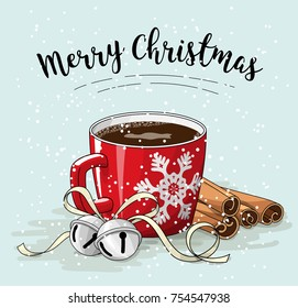 Red cup of coffee with cinnamon and jingle bells, with text Merry Christmas, vector illustration, eps 10 with transparency