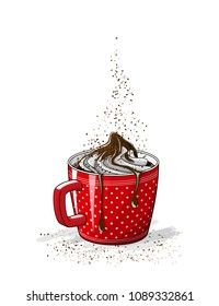 red cup of coffee with cream and chocolate, vector illustration, eps 10 with transparency